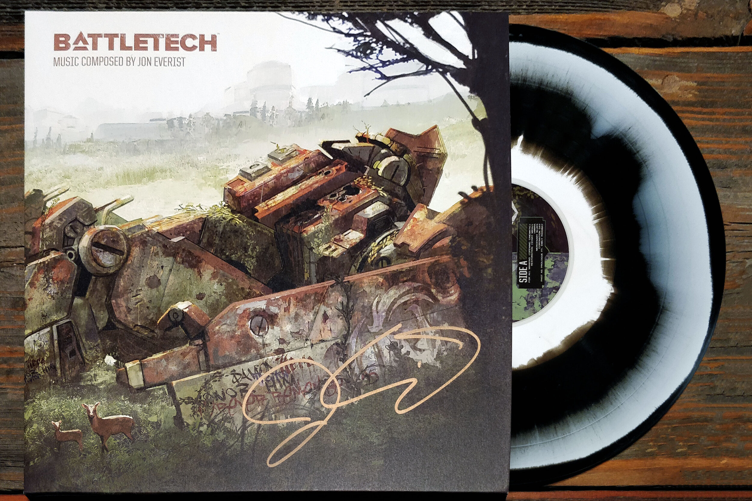 BattleTech by Jon Everist pressed on black/white ink spot vinyl by Black Screen Records