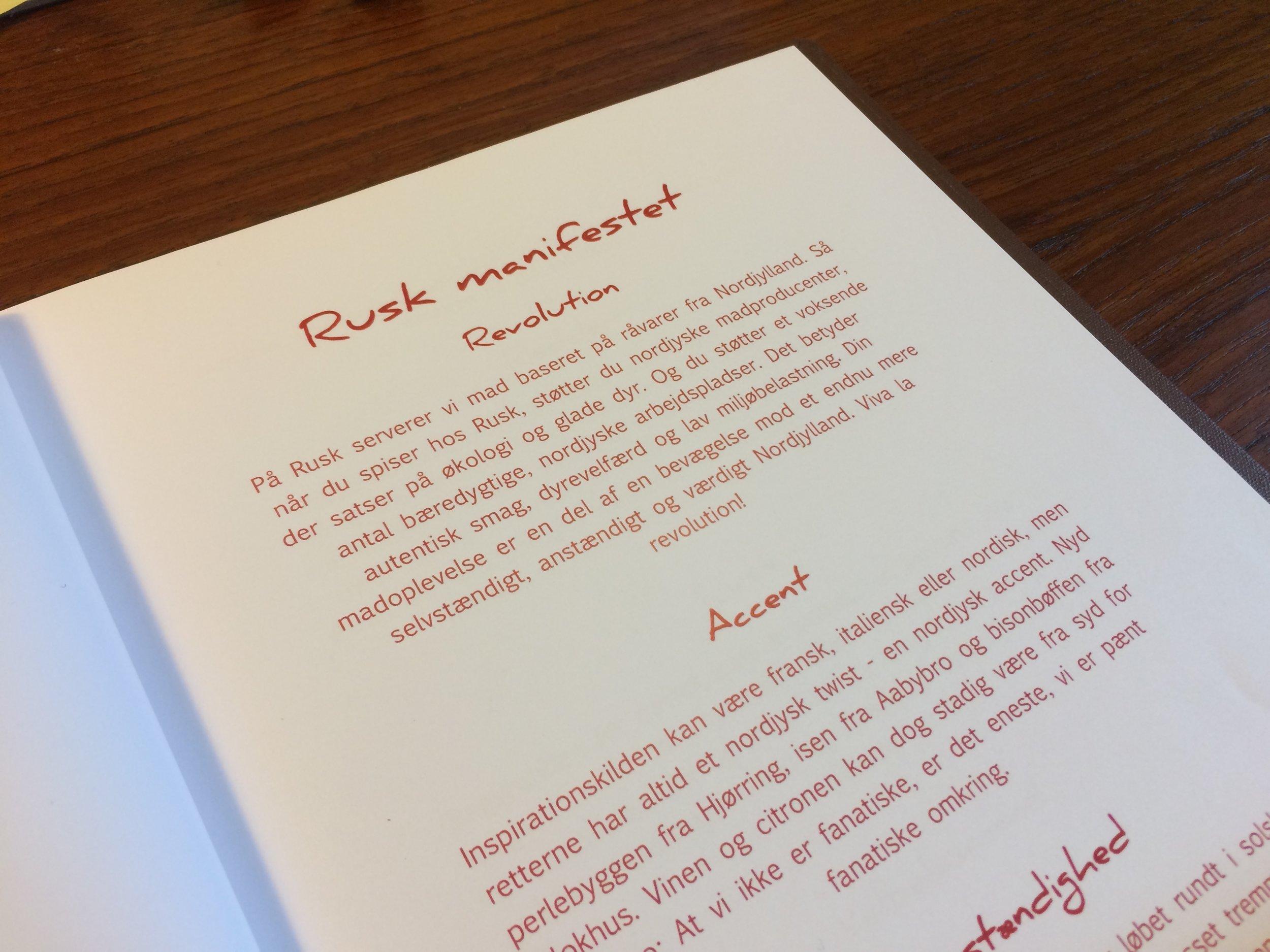 Rusk Manifestet - en del af menuen på Restaurant RUSK