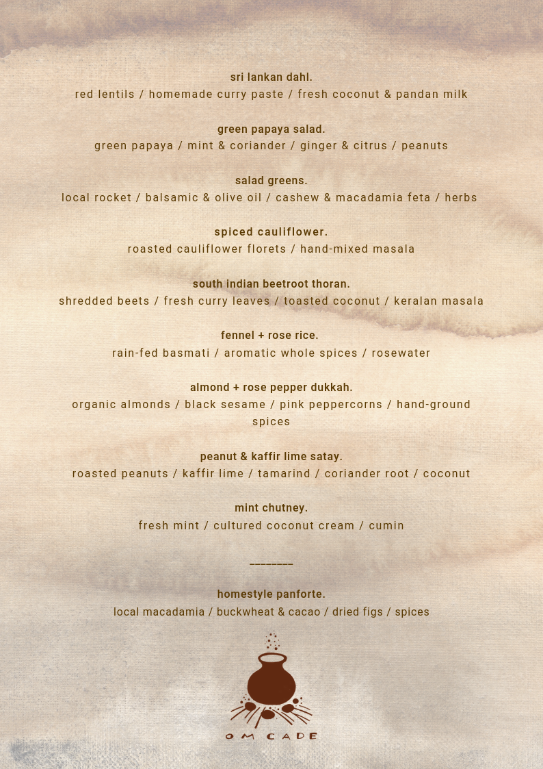 menu served for lunch at @luckymama_aus retreat at elements resort in byron bay.