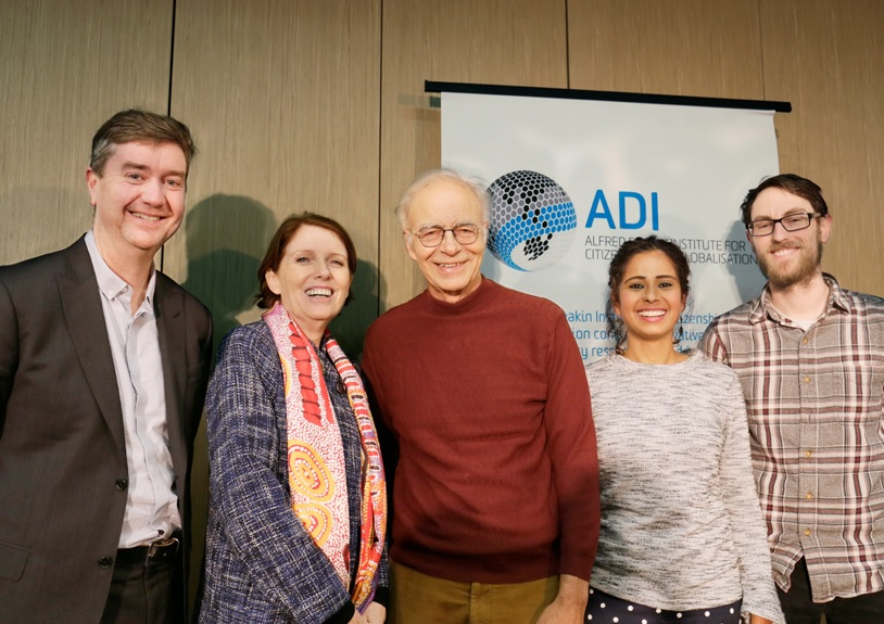 From left: Professor Matthew Clarke (Head, School of Humanities and Social Sciences), Professor Brenda Cherednichenko (Dean, Faculty of Arts and Ed), Professor Peter Singer, Dr Yamini Narayanan and Dr Adam Cardilini.