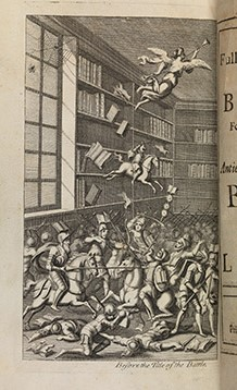 The original illustration accompanying Swift's work,  The Battle of the Books , a satire on the quarrel between ancient and modern philosophy