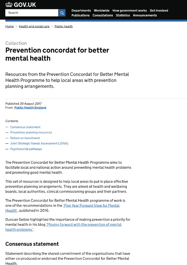 Prevention Concordat for Better Mental Health:UK Government -