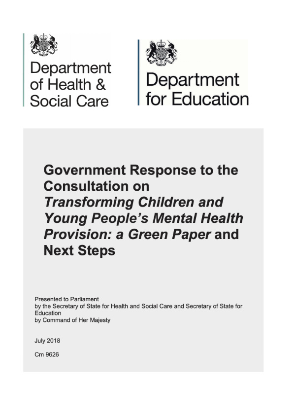 Transforming Children and Young people's Mental Health Provision: a Green Paper:UK Government -
