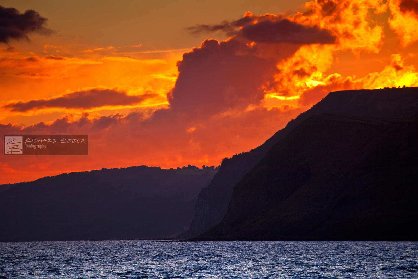 Fiery Sunset over Golden Cap