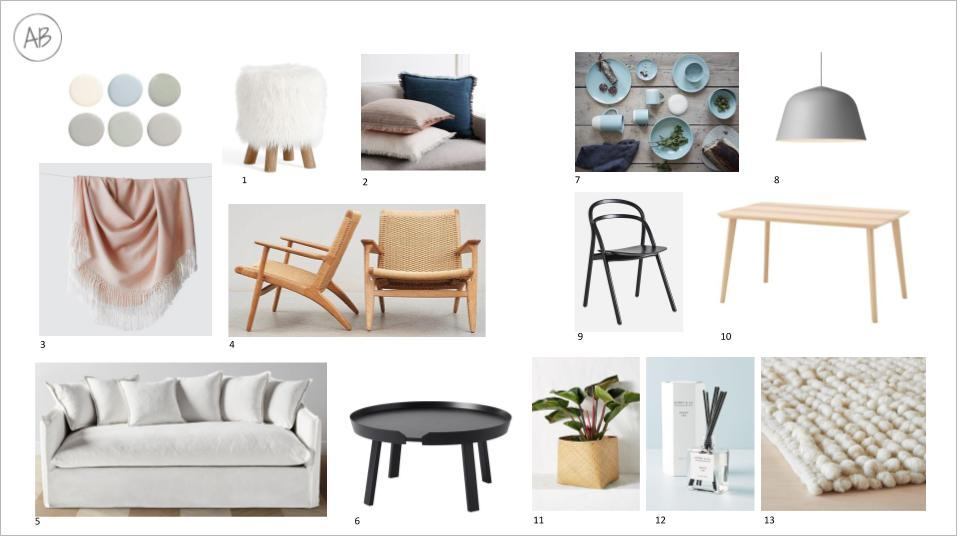 1.  Pottery Barn $136 / 2.  West Elm $14.99 / 3.  The Citizenry $135 / 4.  DWR $3,885 / 5.  Maiden Home $2,425 /  6.  Danish Design Store $669 / 7.  Canvas Home / 8.  YLighting $449 / 9.  HEM $349 / 10.  Ikea $149 / 11.  Anthropologie $30 / 12.  Anthropologie $30.40  13.  The Citizenry $695