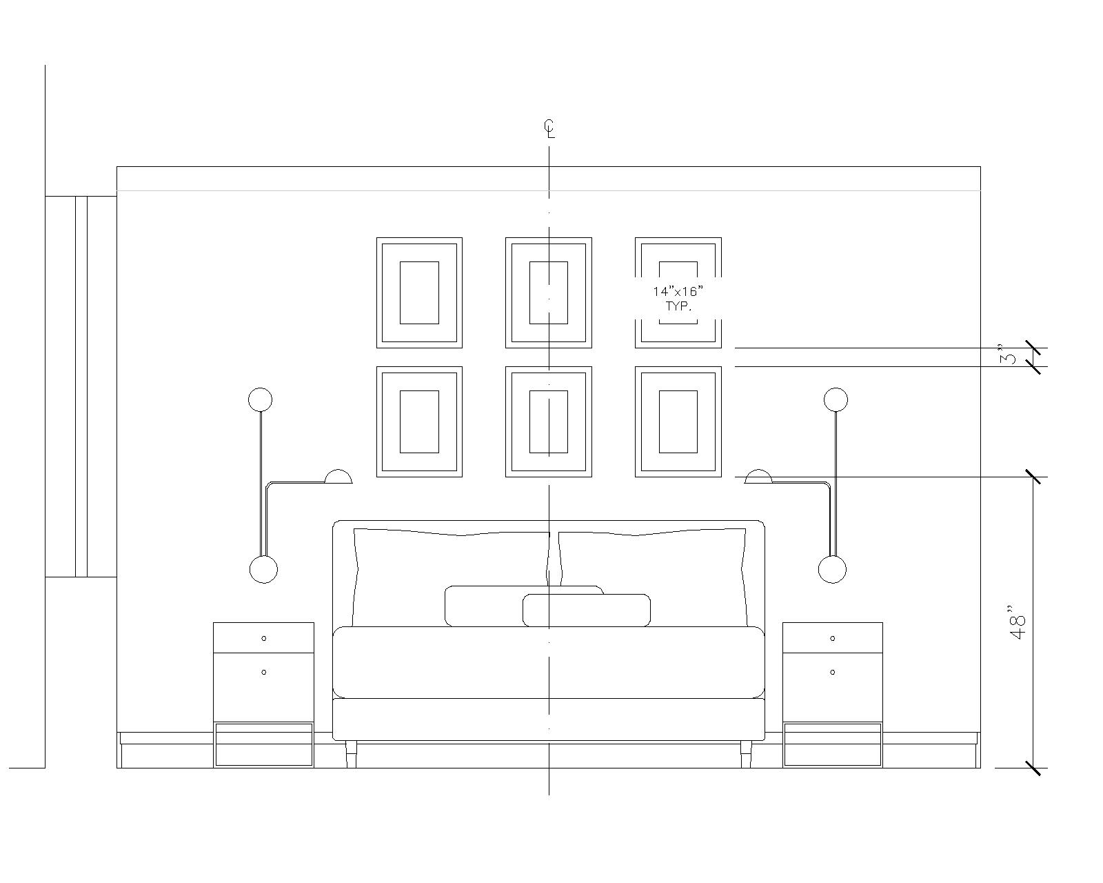 Elevation of bed wall with dimensions for mounting