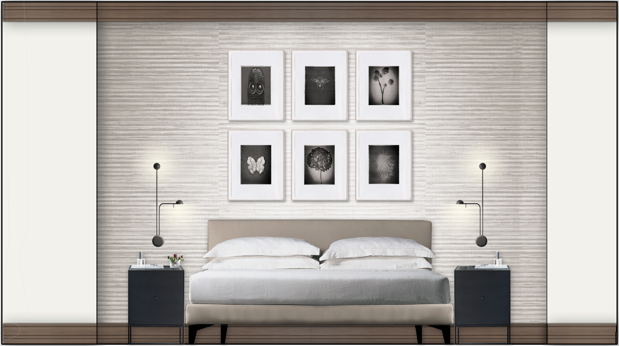 Rendered elevation of bed wall with selected art