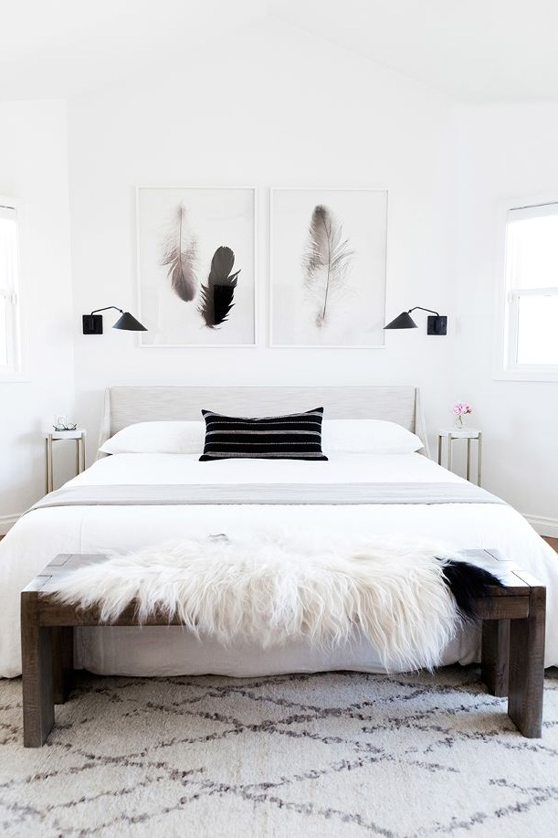 A calm, serene bedroom. Art by Sean Gallager, Photography by Monica Wang,Design by Anne Sage Home by Kimberly Lapides