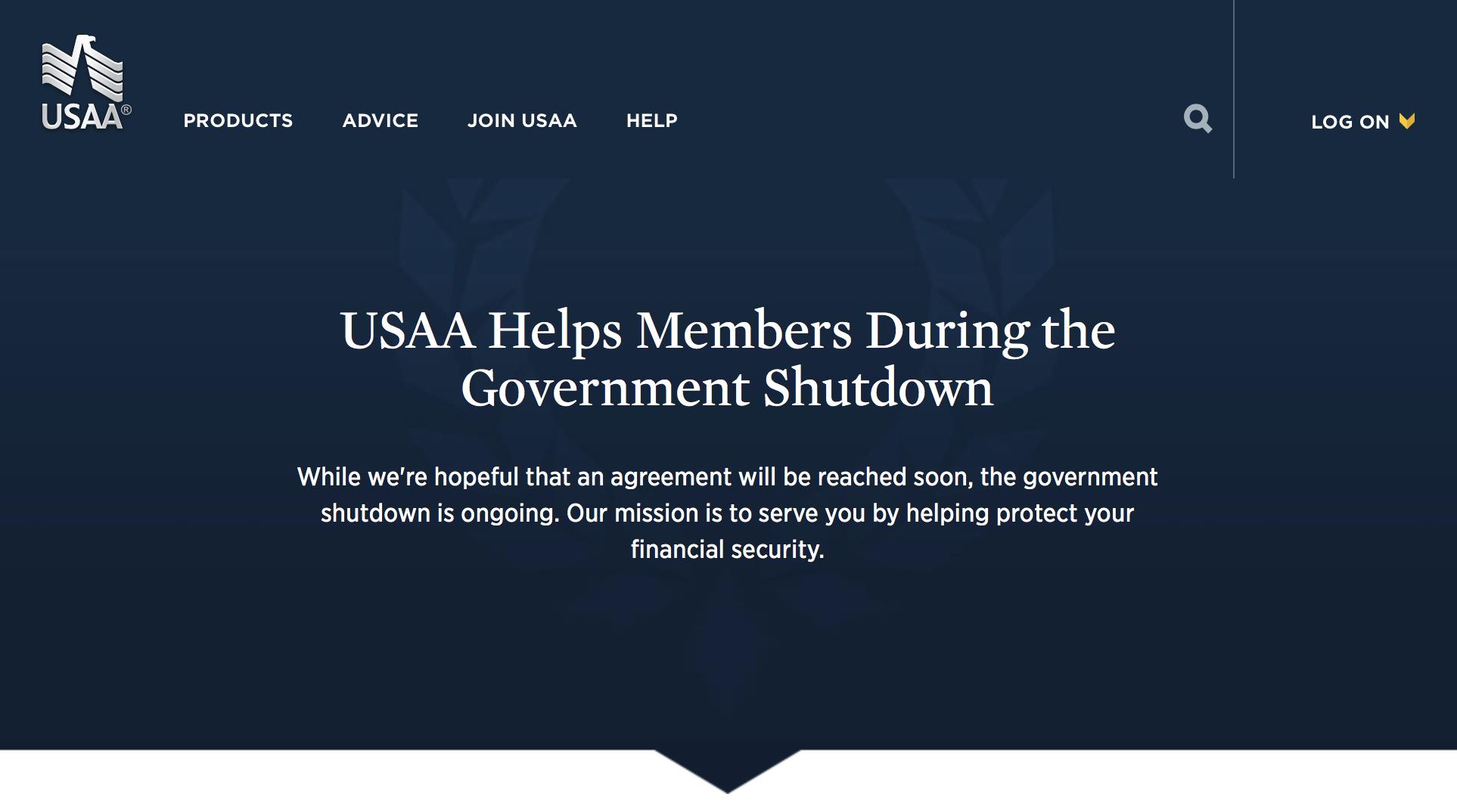USAA government shutdown