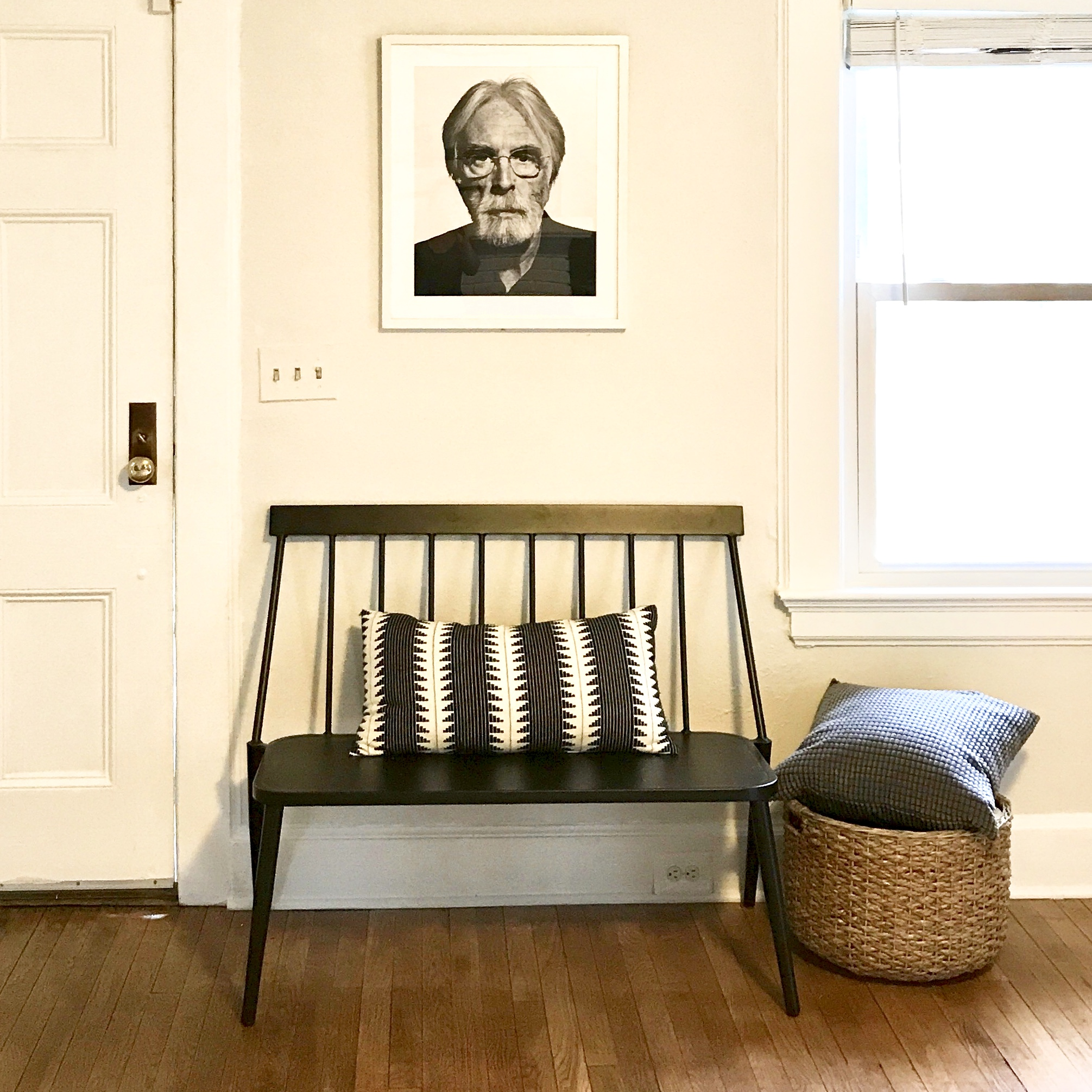 ENTRYWAY DESIGNED FOR SALE BY BEAM&BLOOM INTERIORS.  Target bench  and pillow.  world market basket .