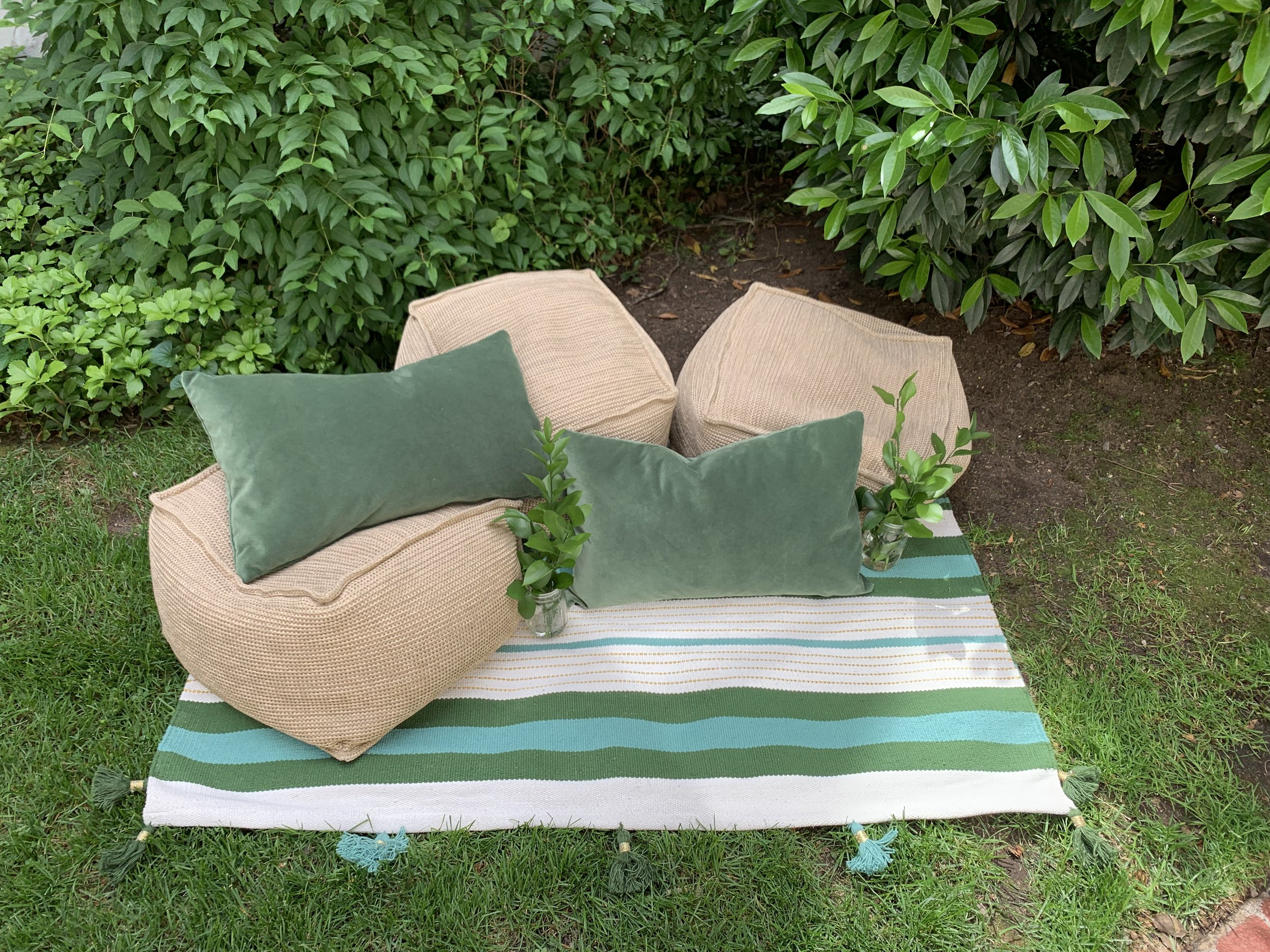 "Mediterranean Outdoor Cushion Lounge,  Target outdoor poufs,   Target rug , Custom  Stout Textiles  ""boxwood"" green velvet lumbar pillows"