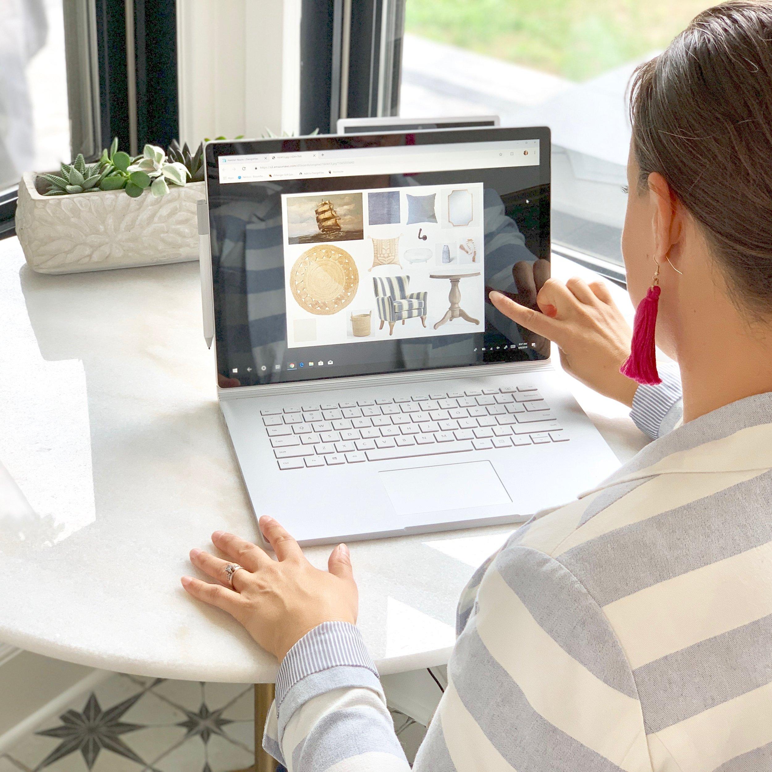 Noel Gatts, Owner/Designer at beam&bloom displays a digital e-design mood board