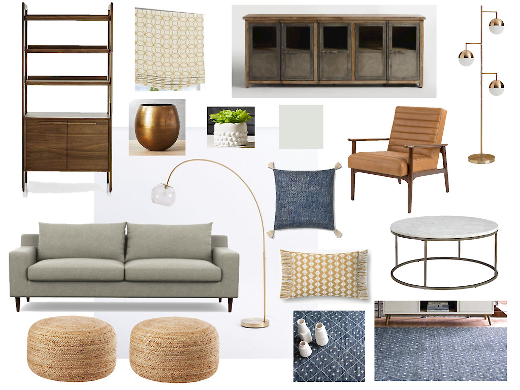 Mood Board for an e-design client by Noel Gatts at beam&bloom interiors; Crate & Barrel  bookshelf , World Market  media console , Interior Define Sofa, Article  chairs , Cb2  poufs,   plant pots  and  lamp , West Elm  arched lamp , Annie Selke rug, houzz  coffee table , Lulu & Georgia  blue pillow , Loloi mustard pillow