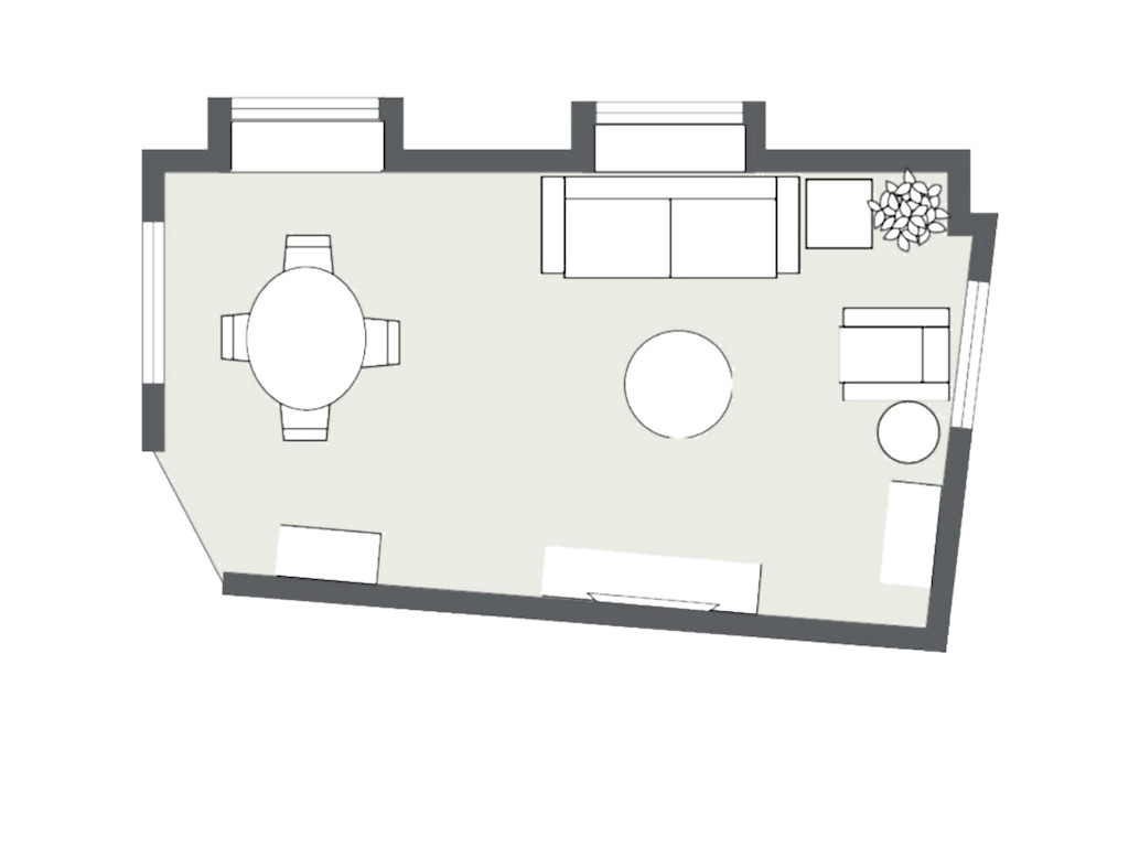 2D Layout for an e-design client in NYC by Noel Gatts at beam&bloom interiors. YES the room was crooked!