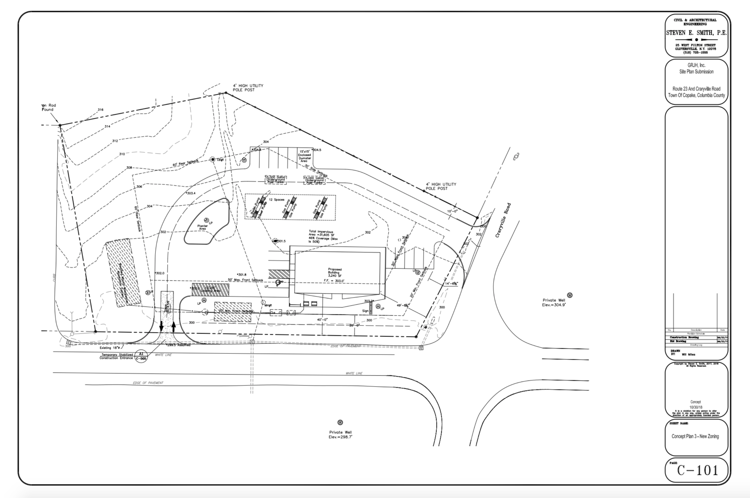 Revised Concept Site Plan submitted October 10, 2018: Revision to July 24 Submission