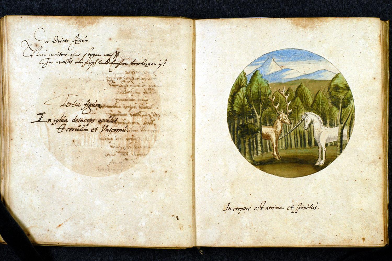 Figura tercera : Escucha con terror que en el bosque se ocultan un ciervo y un unicornio. En el cuerpo están el alma y el espíritu.