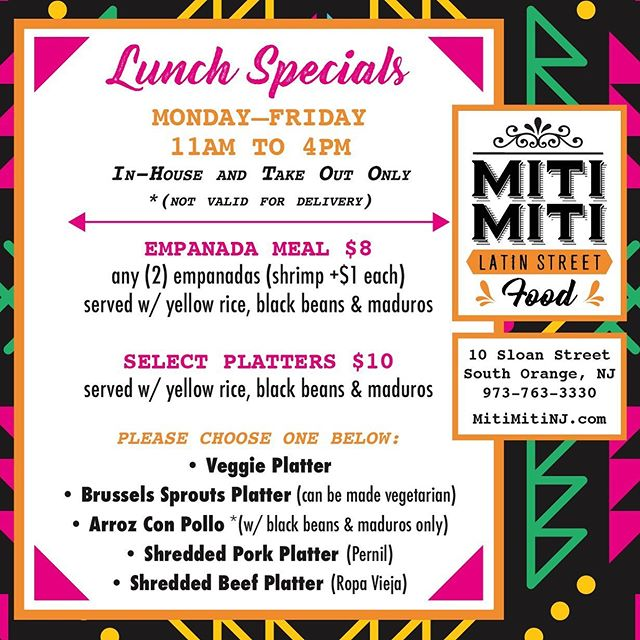 🚨THESE LUNCH SPECIALS THOUGH! From 11am - 4pm we are serving up our Miti Miti NJ lunch specials! Comment below which special you'd order! 👏🏼❤️🌮🥟
