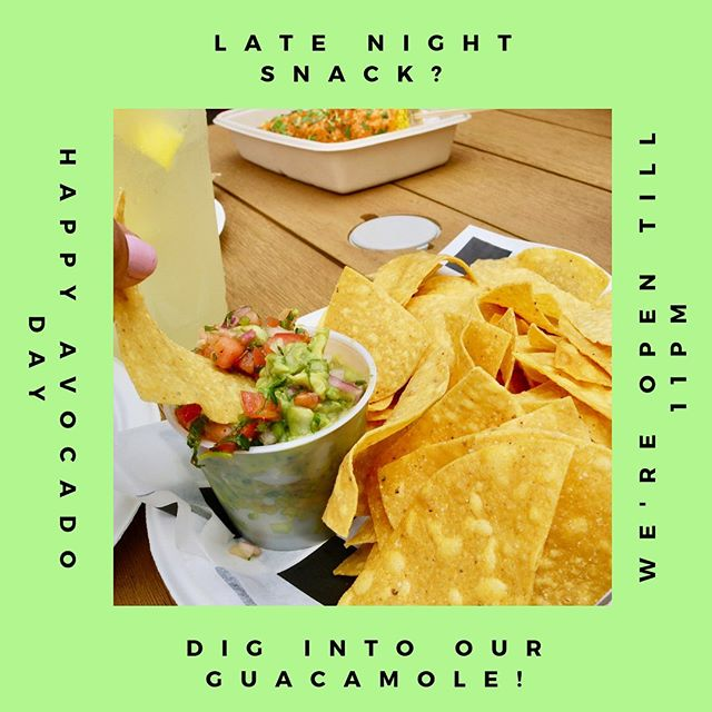 Having some late night cravings? WellC stop scrolling through your Instagram right now and order some guac and chips to celebrate #nationalavocadoday! We're open till 11pm so treat yourself! You'll thank us later 🥑❤️😘
