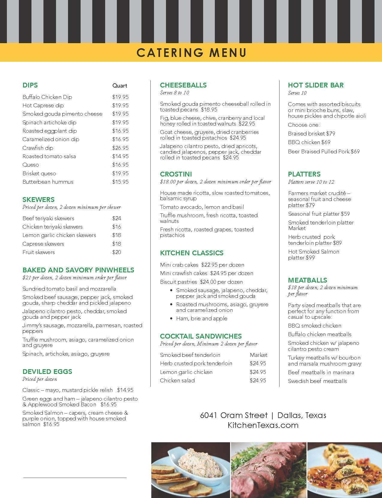 Catering Menu — Jack's Kitchen