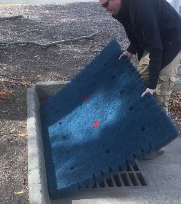 Blackhawk reduces inlet filter installation and maintenance costs by 50% compared to silt sacs or bags. No heavy equipment or lifting of grates – one man job. And Blackhawk is 100% surface visible enabling car window inspections.