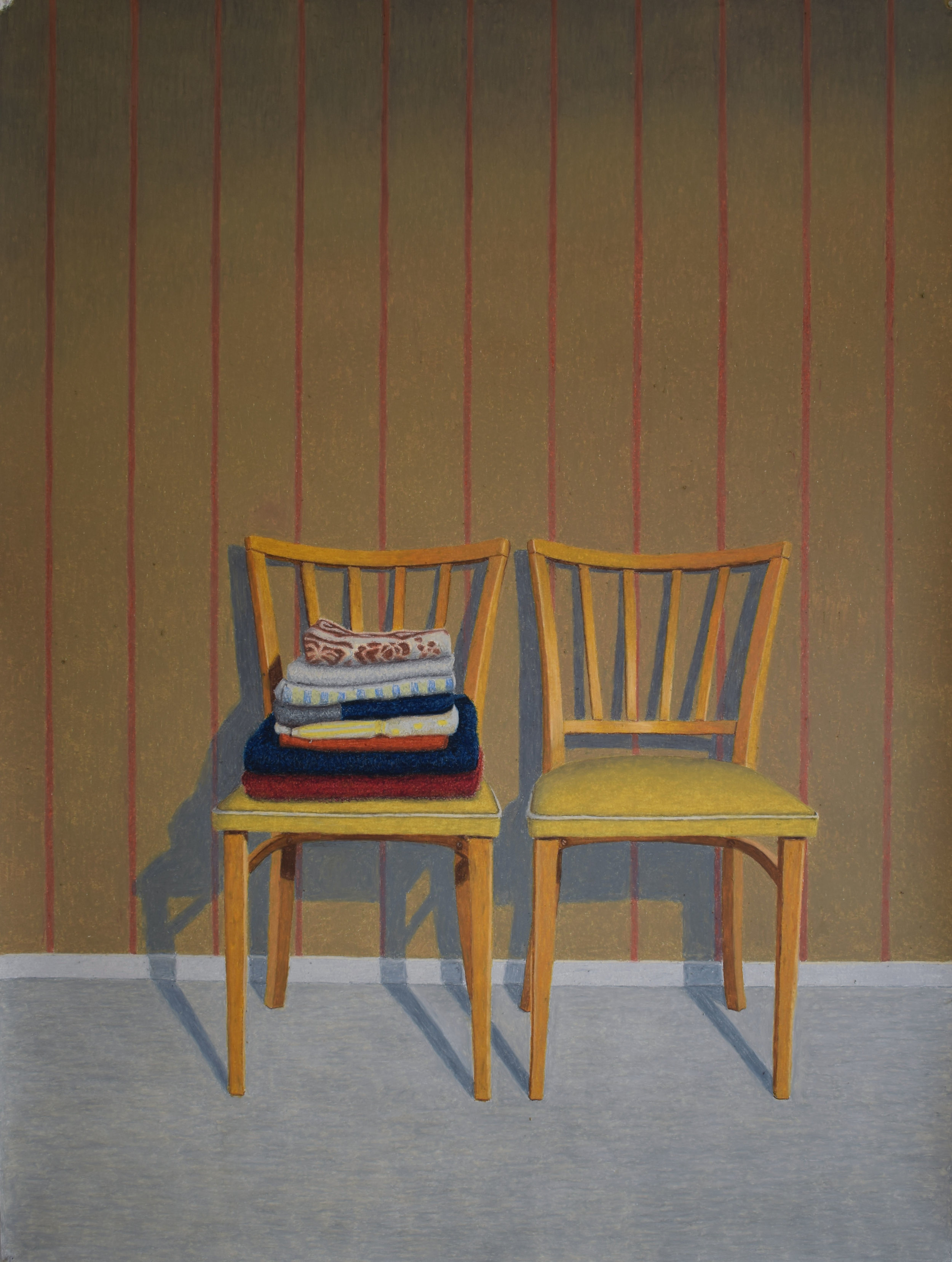 Two Chairs  Oil pastel on paper, 2018