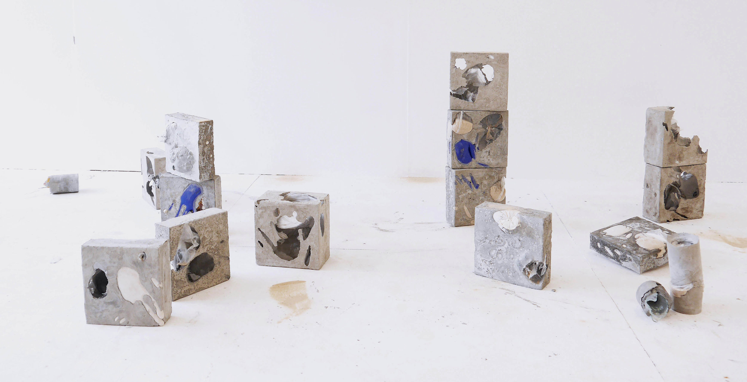 Rebeca Romero    Trick, Trap, Shifting Sands Concrete, sand, plastic crate, rubber, ceramic tiles, 2019