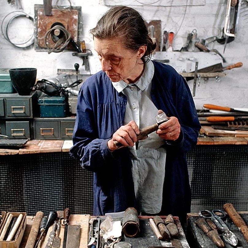 Louise Joséphine Bourgeois in her studio