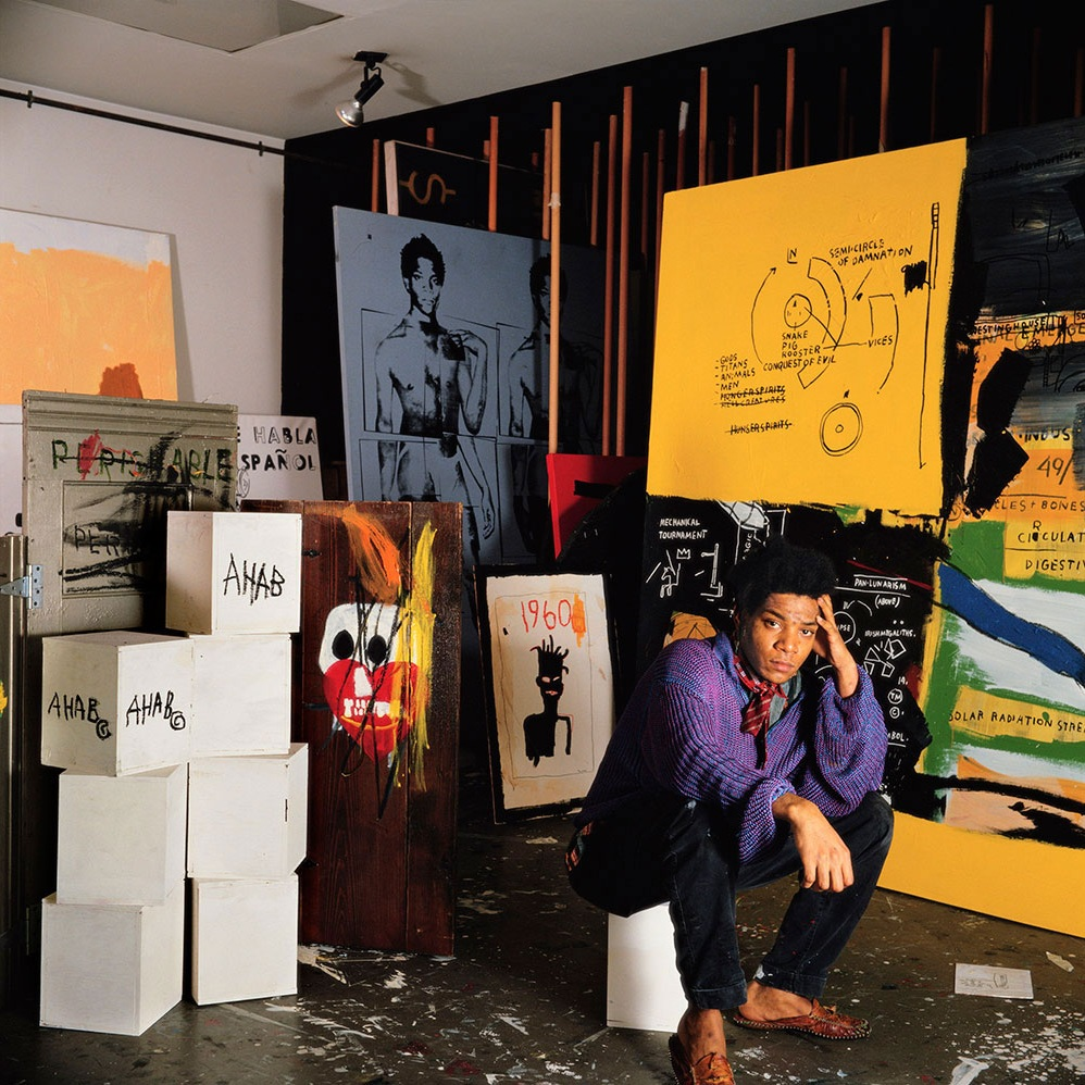 Jean Micheal Basquiat in his studio