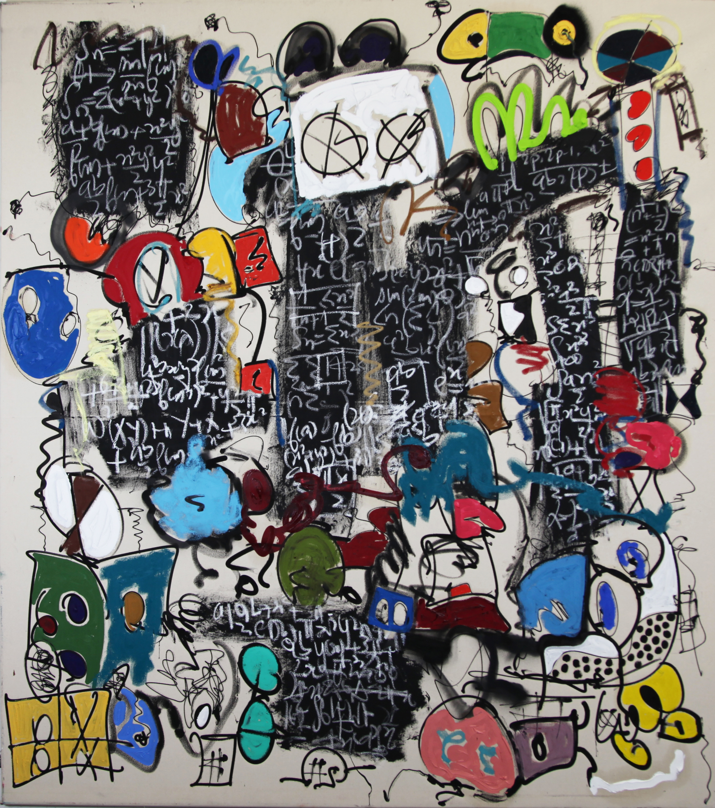 410 We Used To Be Gorillas  Oil, acrylic, silkscreen ink, enamel, charcoal on canvas