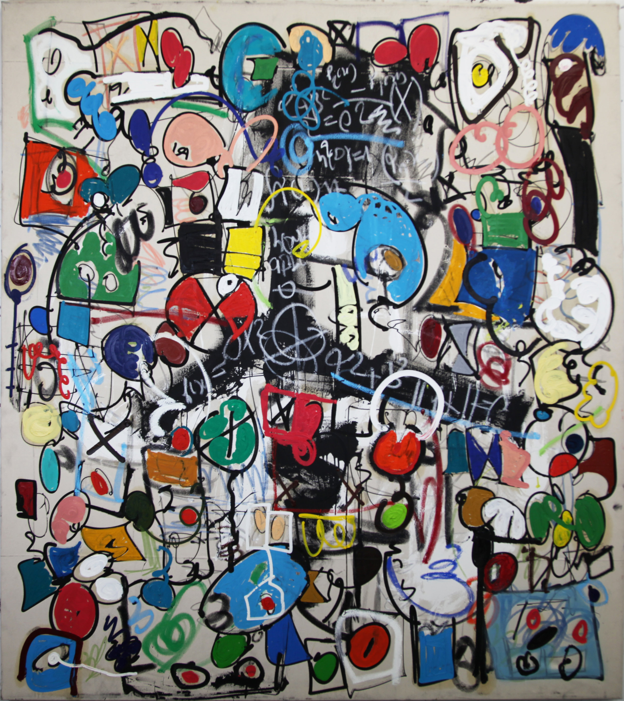 428 The Stones Are Overrated  Oil, acrylic, silkscreen ink, enamel, charcoal on canvas