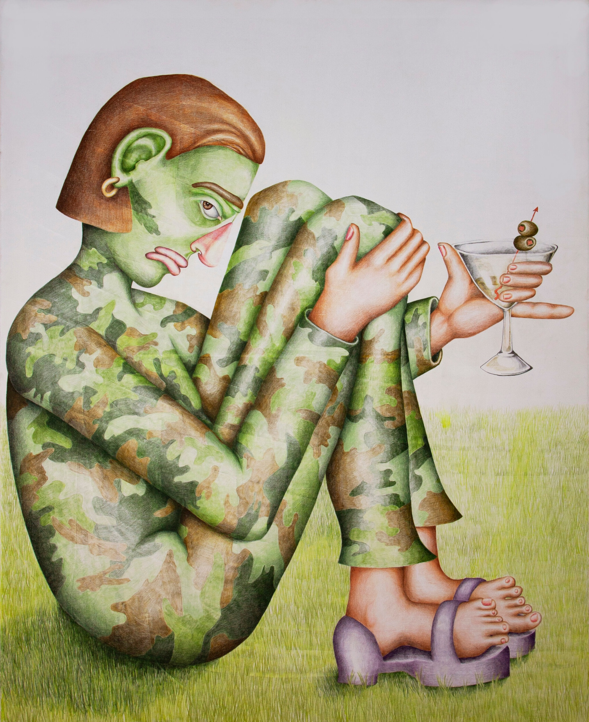 Party of One, 2018, coloured pencil on canvas