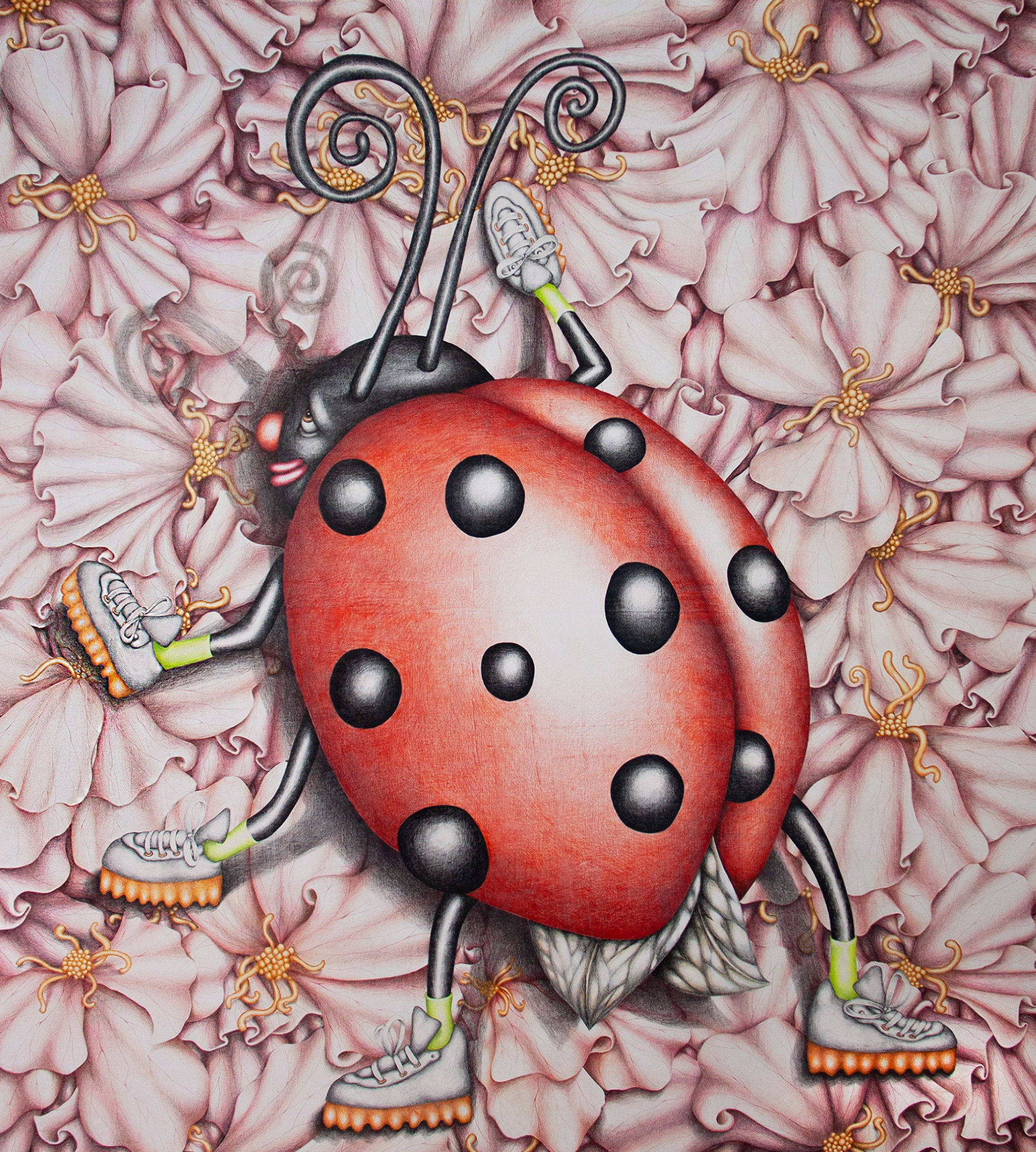 Beep the Ladybug Messing Everything Up, 2019, coloured pencil on canvas