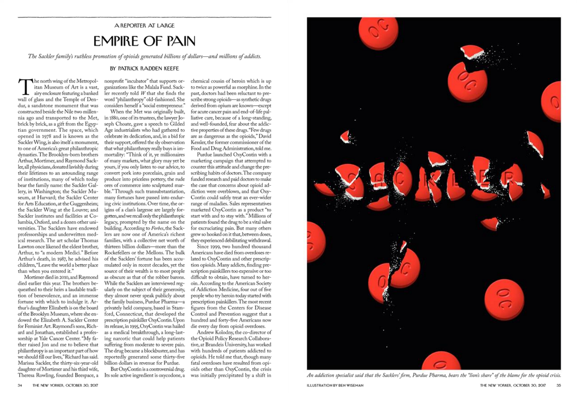"""""""Empire of Pain,"""" The New Yorker, October 30, 2017"""