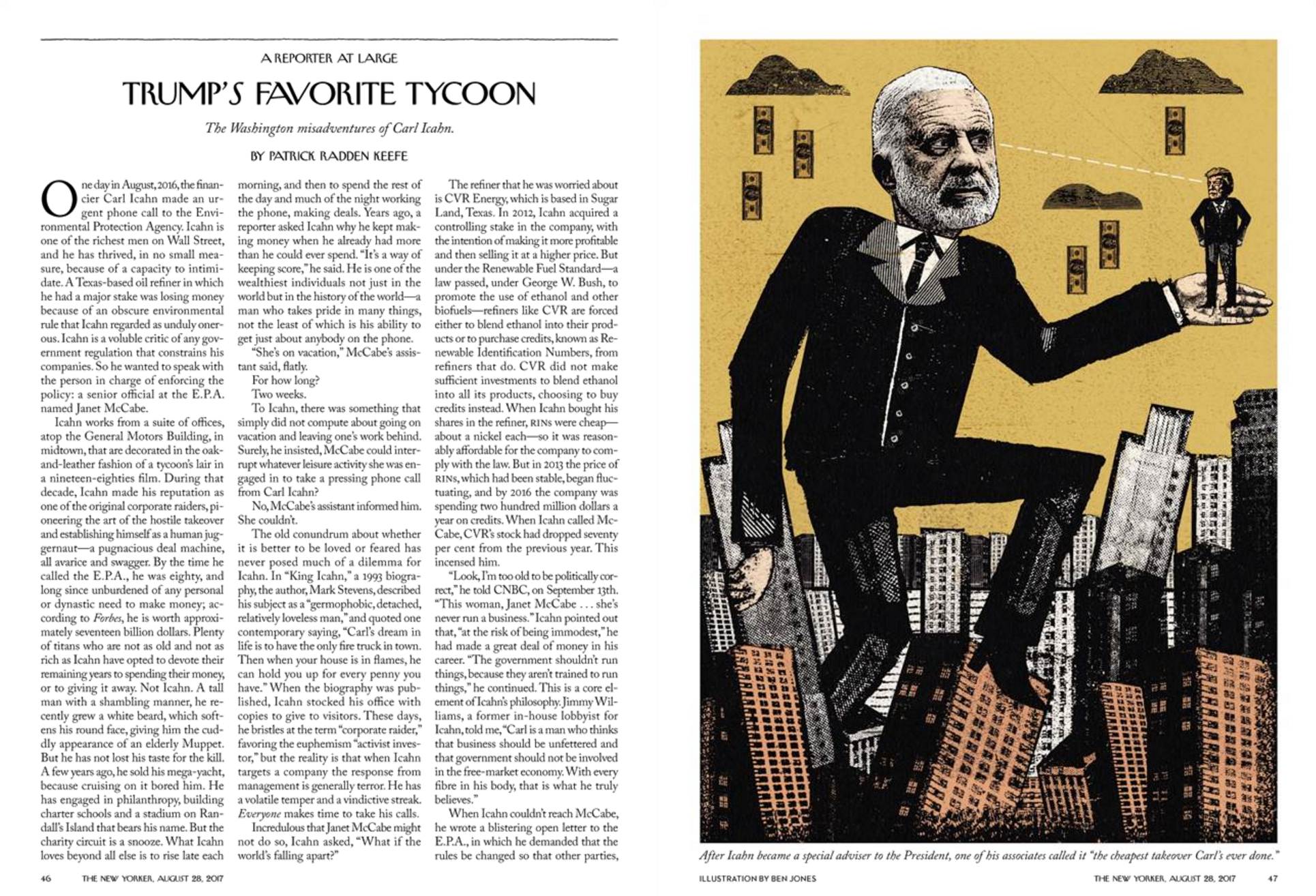 """""""Trump's Favorite Tycoon,"""" The New Yorker, August 28, 2017"""