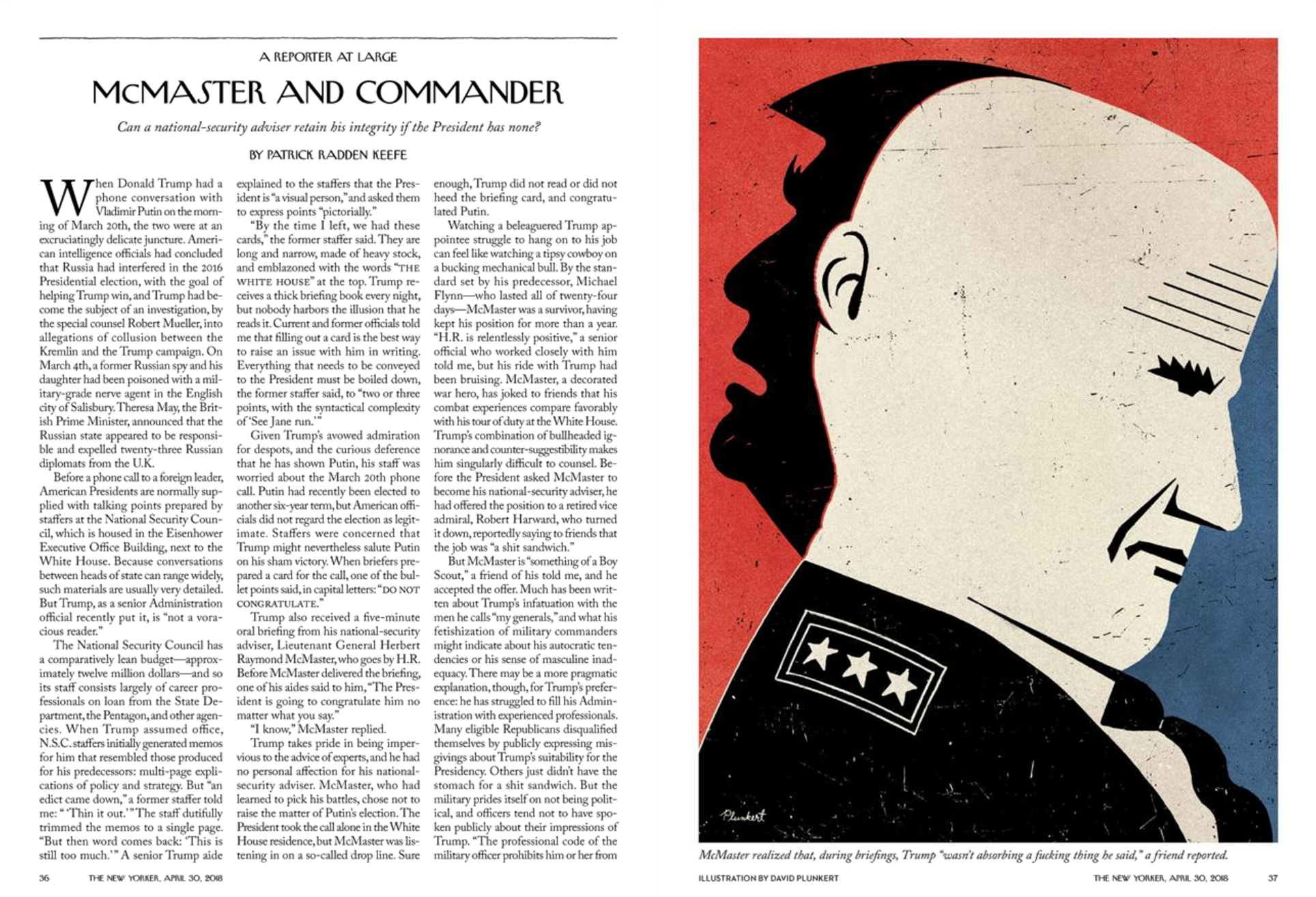 """""""McMaster and Commander,"""" The New Yorker, April 30, 2018"""