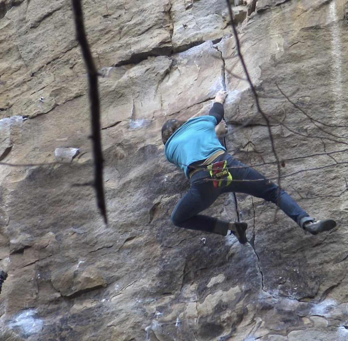 "Just past the crux of ""Satisfaction (5.12a),"" which I've now soloed nine times"