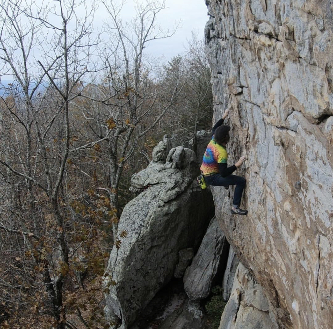 "The crux of ""Blinded by Science (5.12a)"" at Sandrock, AL. Part of my ""active recovery"" circuit"