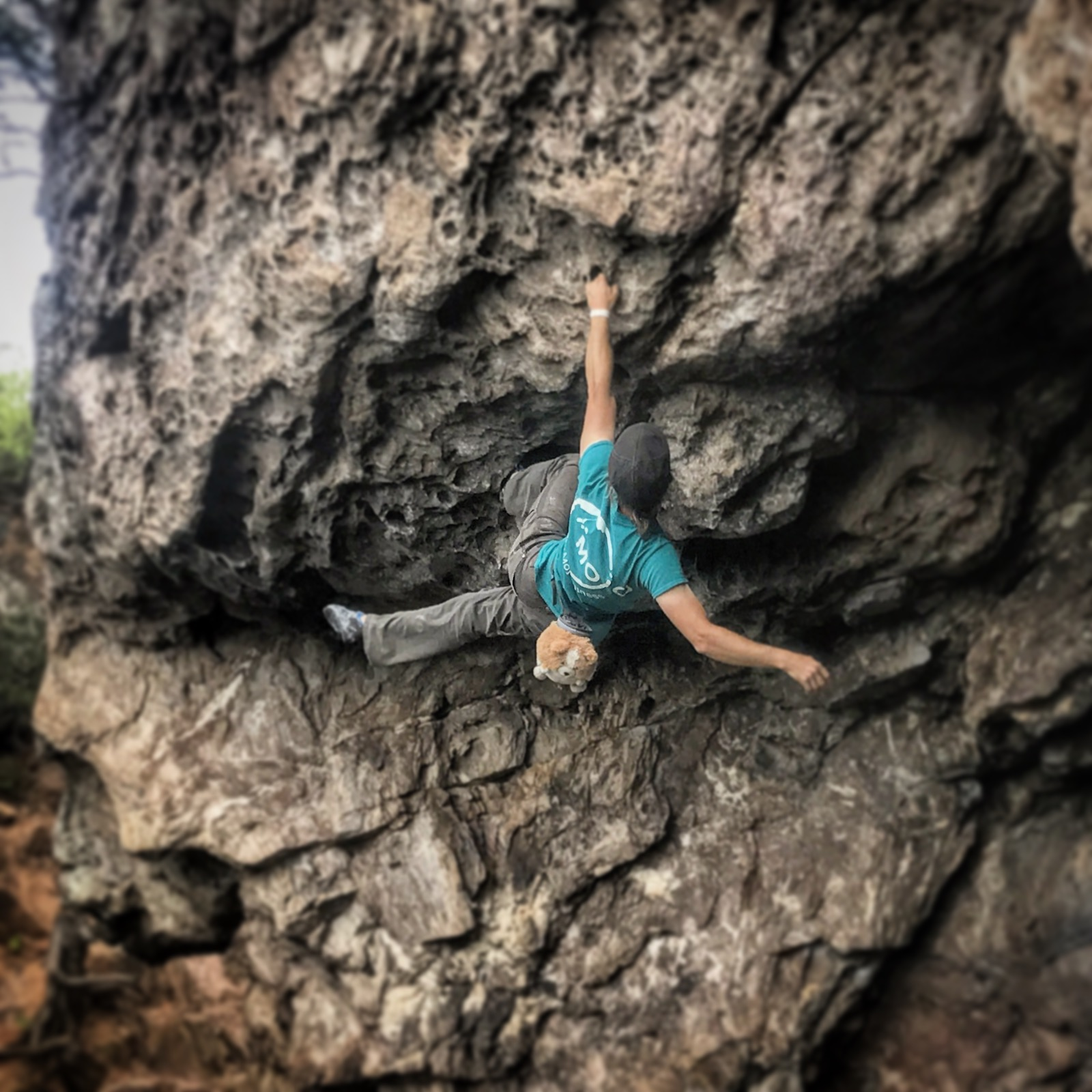 """Practicing peace and alignment in the steeps of """"Eye Sockets (5.10)"""" at Crowder's Mountain"""