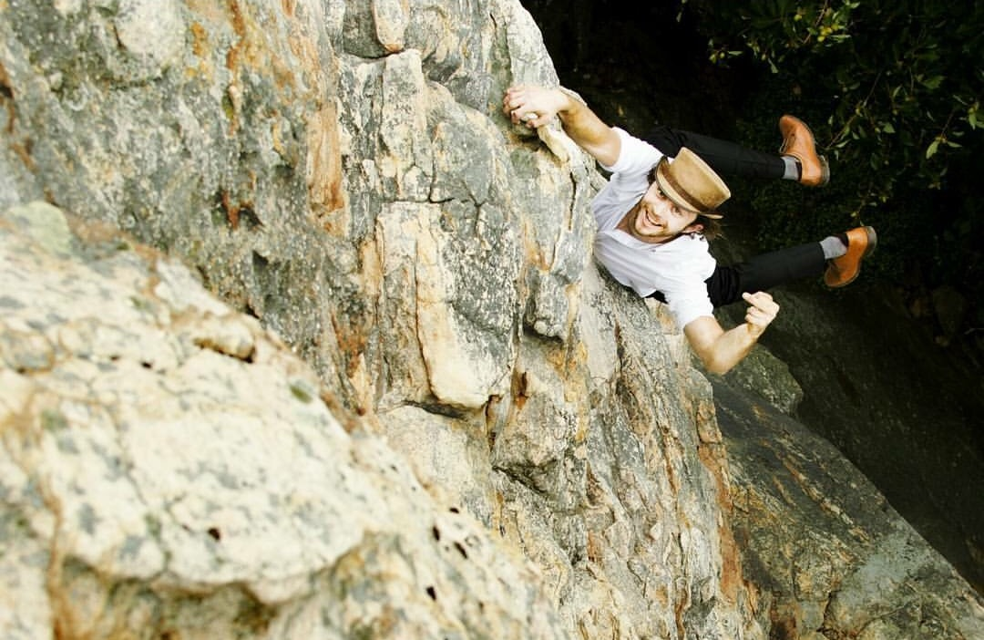 """Practicing my foot-slips 90ft off the deck - """"Comfortably Numb (5.9+)"""" Sandrock, AL"""