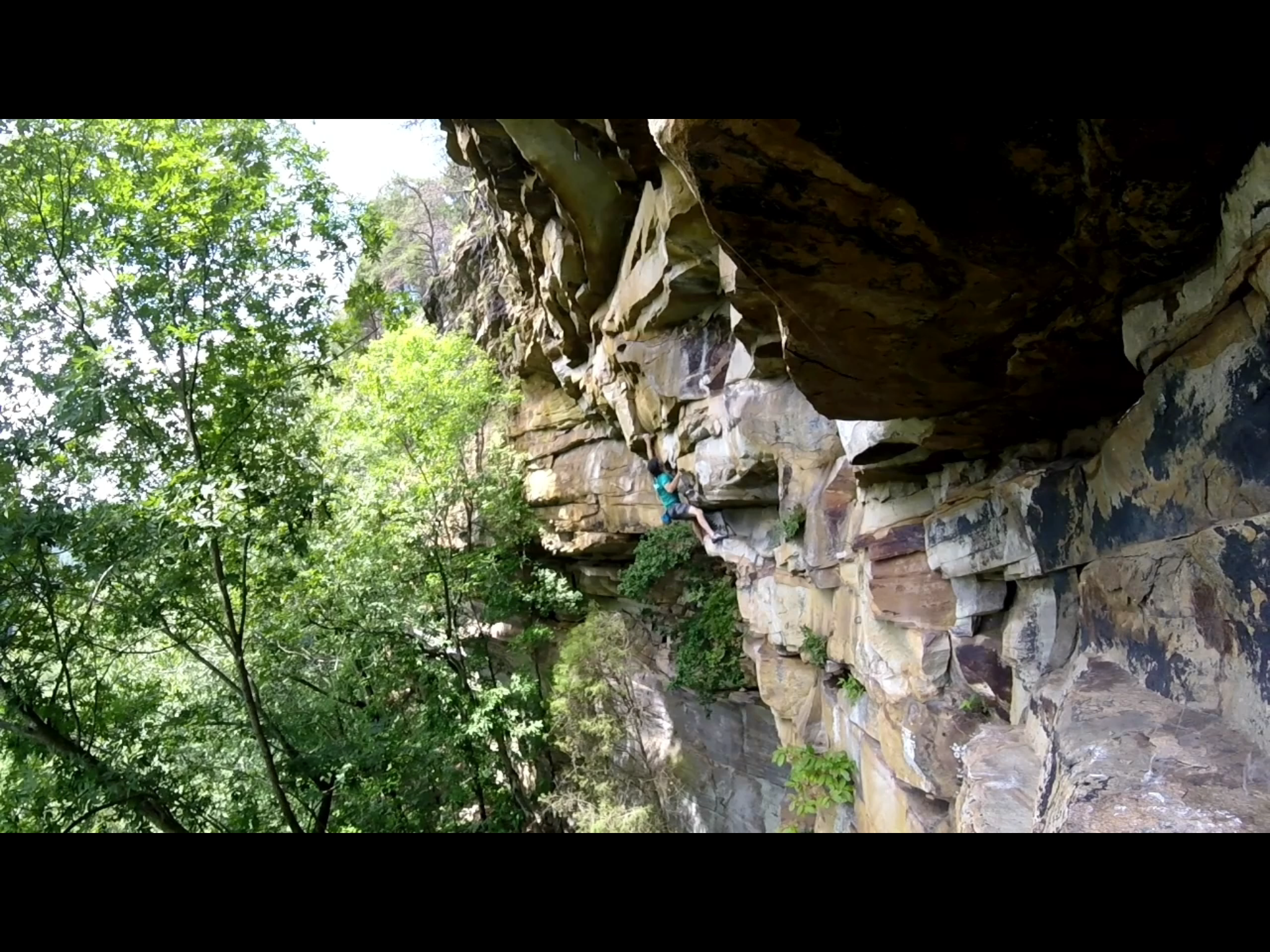 """""""Tangerine (5.12a)"""" this The Move. The one that separates up from down that right hand is a not-awesome sidepull. I mean, it feels awesome for going  up , I just wasn't too enthused about the prospect of using it for going  down"""