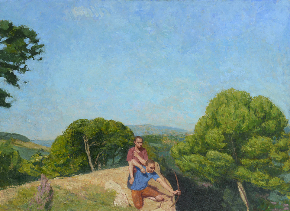 Boys playing on a Cliff Top 40x55 inches