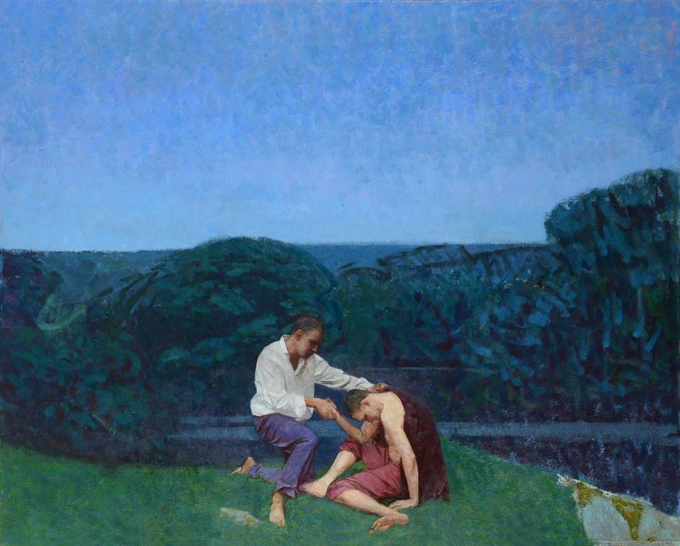 Landscape with Two Figures by a Lake 48x60 inches