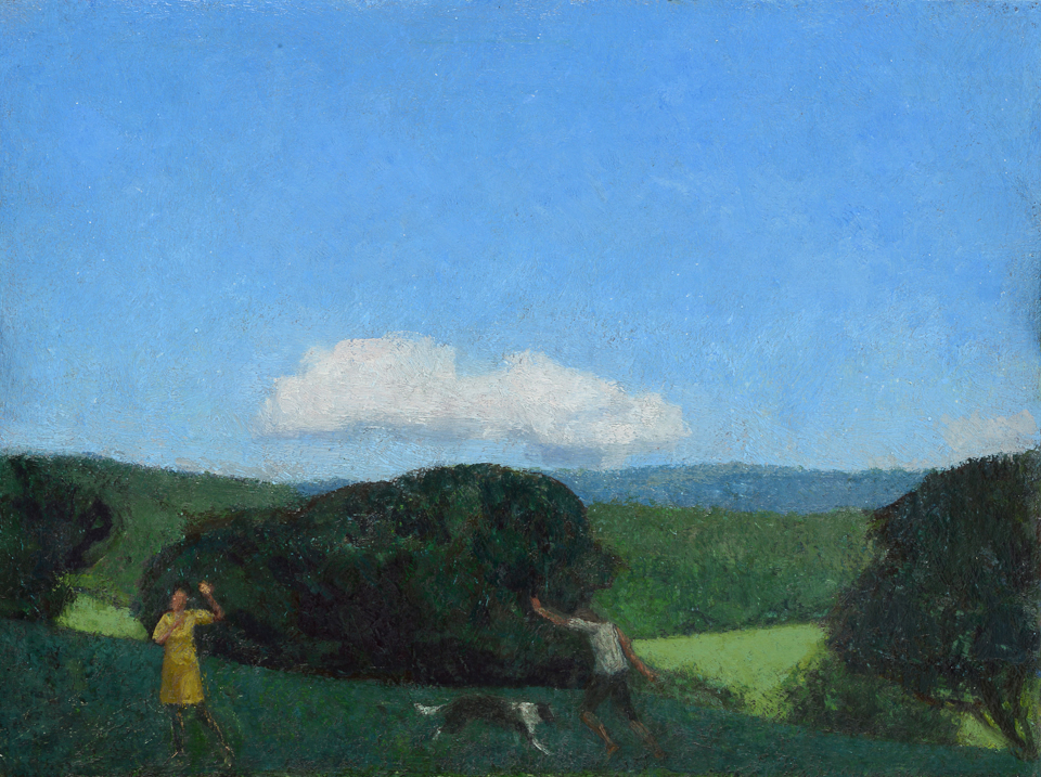 Landscape with Two Figures and a Dog 12x16 inches