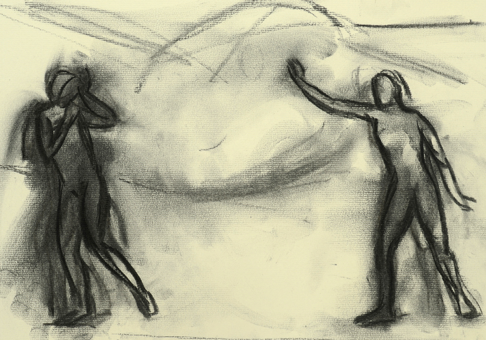 Study for Landscape with Two Figures and a Dog