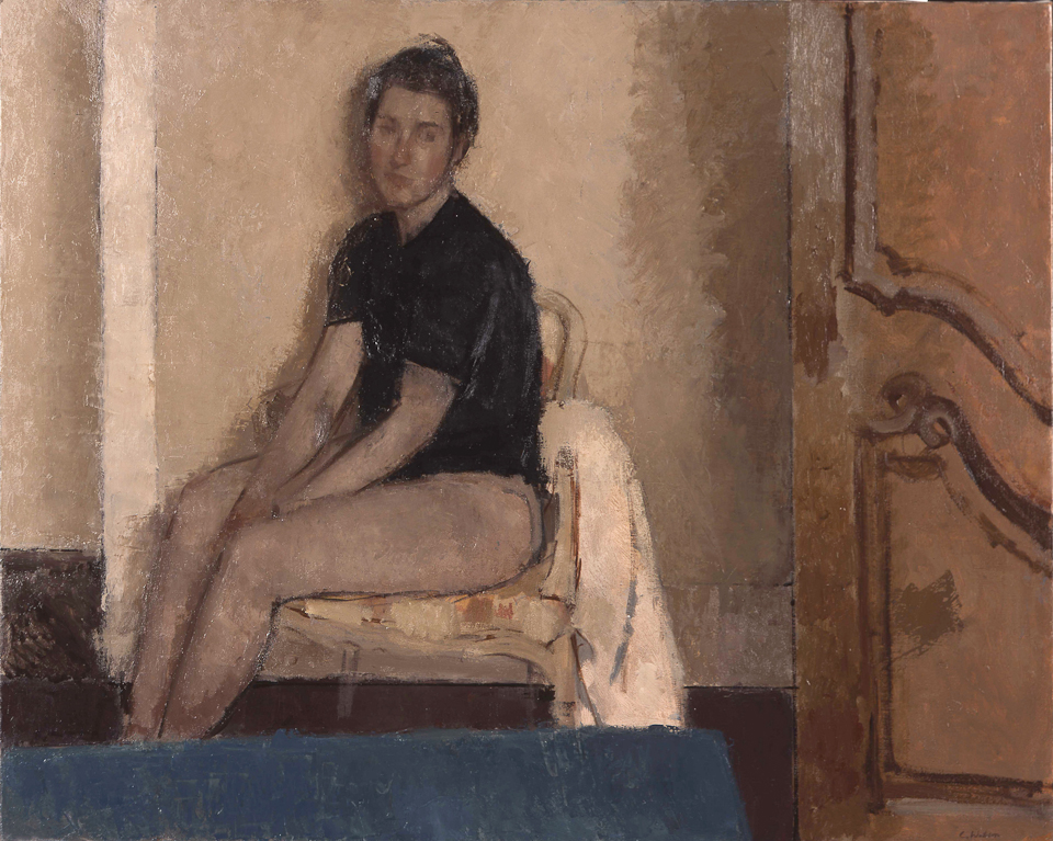 Figure in a French Interior, Oil on Canvas, 81.5 x 101.5cm
