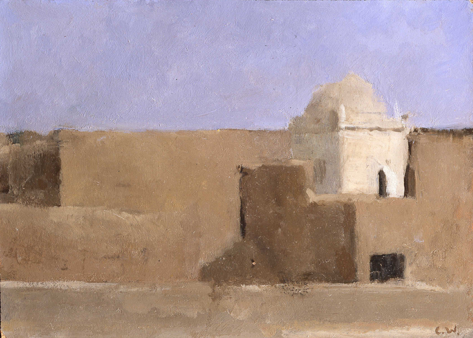 Marabout near Meski, Oil on Panel, 18 x 25.5cm