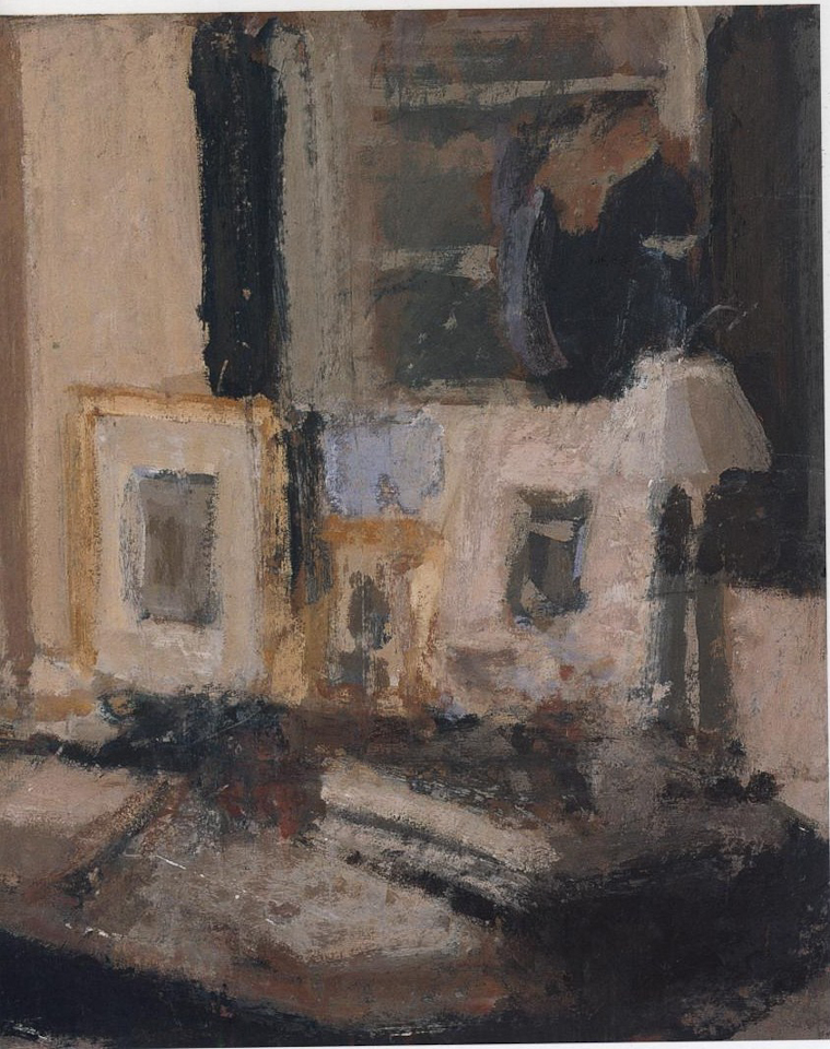 Table and Mirror, Casein Tempera on Card, 40.5 x 35.5cm