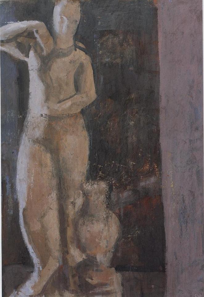 Greek Nude, Casein Tempera on Card, 56 x 38cm