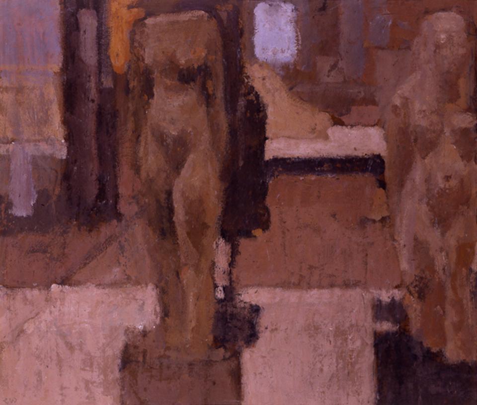 Egyptian Figures, Casein Tempera on Card, 38 x 44.5cm