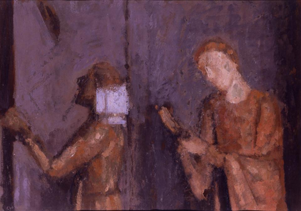 Two Saints, Casein Tempera on Card, 38 x 53cm